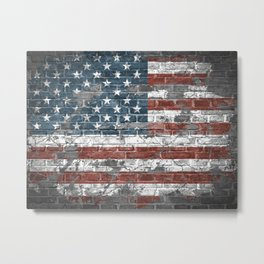 american flag on the brick Metal Print