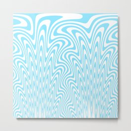 Cyan Squiggles Metal Print