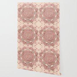 Rose gold cyan mandala Wallpaper