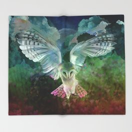 """Owl flight and spring night"" Throw Blanket"