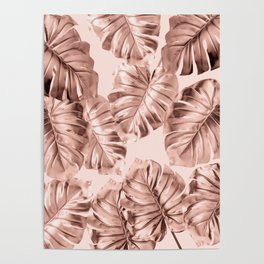 Rose Gold Monstera Leaves on Blush Pink 2 Poster