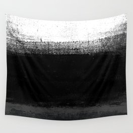 Ocean No. 2 - Minimal ocean abstract painting in black and white Wall Tapestry