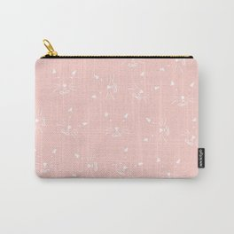 Cute girly hand drawn abstract cat face on pastel pink Carry-All Pouch