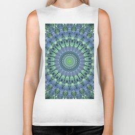 Mandala in light green and blue colors Biker Tank