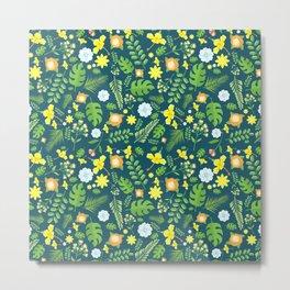 Modern navy blue tropical sunshine yellow green floral Metal Print