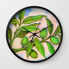 Branch of an Almond tree in Summer Wall Clock