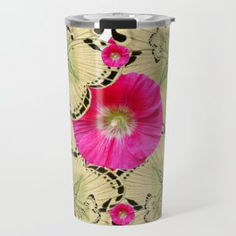 FUCHSIA PINK HOLLYHOCKS YELLOW BUTTERFLIES Travel Mug