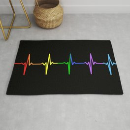 Rainbow Heartbeat Pulse LGBT Rug