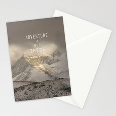 Adventure is out there. At the mountains. Stationery Cards