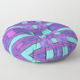 Painted cyan and magenta parallel bars Floor Pillow