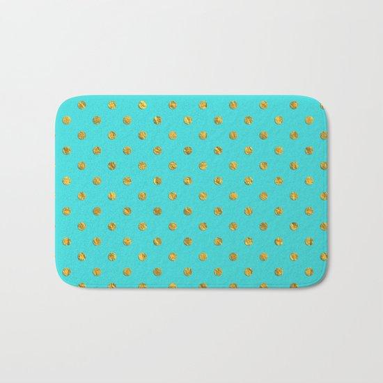 Gold glitter polka dots on turquoise backround pattern Bath Mat