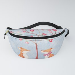 Fox love- foxes animal nature _ Watercolor illustration Fanny Pack