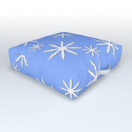 Snowflakes on Blue Outdoor Floor Cushion