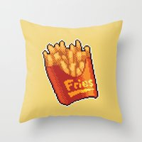 fries Throw Pillows featuring Pixel Fries by TheSkywaker