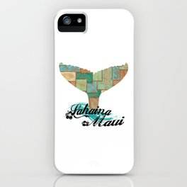 Lahaina,Maui Tapa Tribal Whales Tail iPhone Case