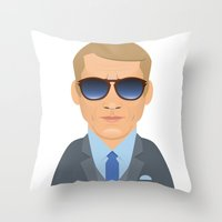 steve mcqueen Throw Pillows featuring Steve McQueen by Capitoni