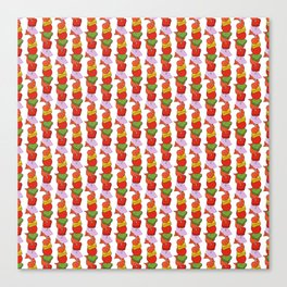 Grilled Veggies - BBQ Doodle Pattern in White Canvas Print
