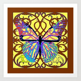 ITALIAN STYLE BROWN-YELLOW BUTTERFLY FILIGREE Art Print