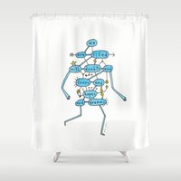 marc Shower Curtains featuring doubts and fears and hopes and dreams by Marc Johns