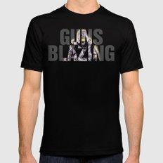 Guns Blazing Black Mens Fitted Tee SMALL