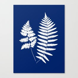 Woodland Fern Pattern, Cobalt Blue and White Canvas Print