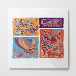 Alebrijes Animals - Vibrant Orange Metal Print