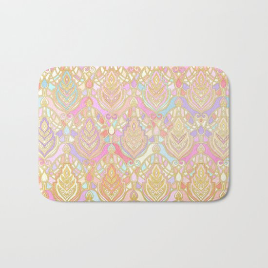 Rosy Opalescent Art Deco Pattern Bath Mat
