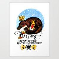 platypus Art Prints featuring Platypus by Ricardo Cavolo