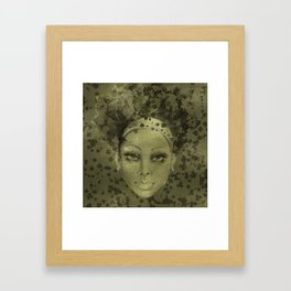 Abstract  Female Face with  card suits Framed Art Print