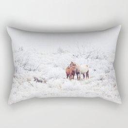Two Winter Horses Rectangular Pillow