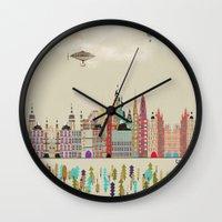 england Wall Clocks featuring visit london england by bri.buckley