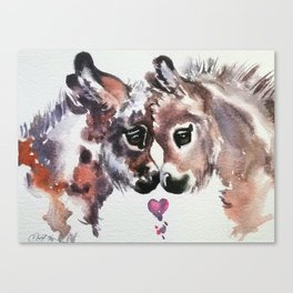 Donkeys in Love Canvas Print