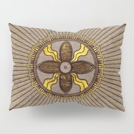 Seal of Shamash - Wood burned with gold accents Pillow Sham