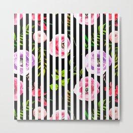 Pink lavender green watercolor floral stripes Metal Print