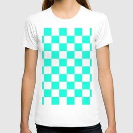 Cheerful Aqua Checkerboard Pattern T-shirt
