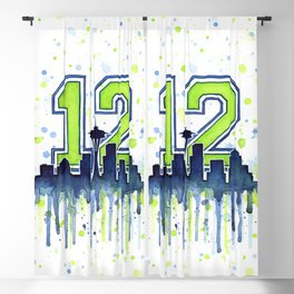 Seattle 12th Man Art Skyline Watercolor Blackout Curtain