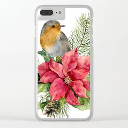 Merry Christmas. Watercolor Clear iPhone Case
