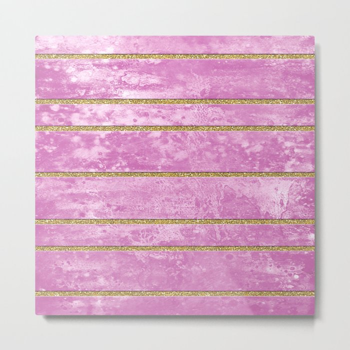 Abstract Painting with Golden Stripes - Pink Metal Print