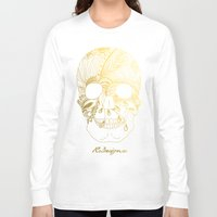 gold foil Long Sleeve T-shirts featuring Gold Foil Patterned Skull by RsDesigns