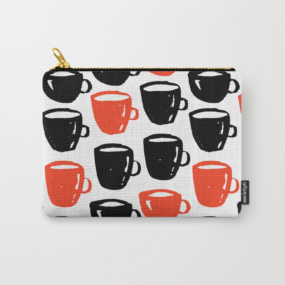 Quirky Cool Coffee Cups Pattern Carry-all Pouch by Ankka CAP7928857