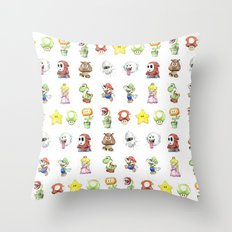 Mario Characters Watercolor Geek Gaming Videogame Throw Pillow