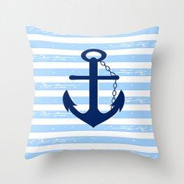 AFE Nautical Blue Ship Anchor Throw Pillow