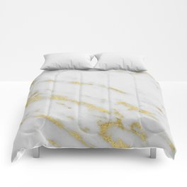 Marble - Shimmery Gold Marble on White Pattern Comforters
