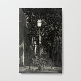 Bicycle Chained to Black Lamp Post Metal Print
