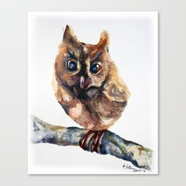 WATERCOLOR BABY OWL WOODLAND ANIMALS NURSERY COLLECTION Canvas Print