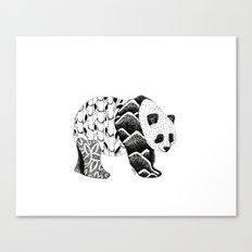 Bamboo Panda Bear Mountains and leaves dot-work, pointillism Canvas Print