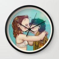 moonrise kingdom Wall Clocks featuring Moonrise Kingdom by Maripili