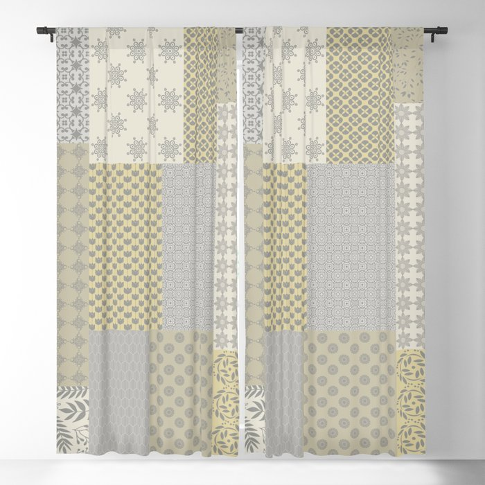 Modern Farmhouse Patchwork Quilt In Gray Marigold And Oatmeal Blackout Curtain By 19monkeys Society6