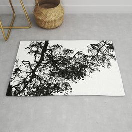 Black and White Tree Sillouette Rug