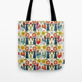 Swedish folksy cats and birds Tote Bag